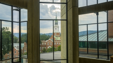 Baker Tower seen through the windows of Haldeman.